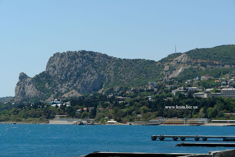 Алупка. Вид на гору Кошка с пляжа Лягушка