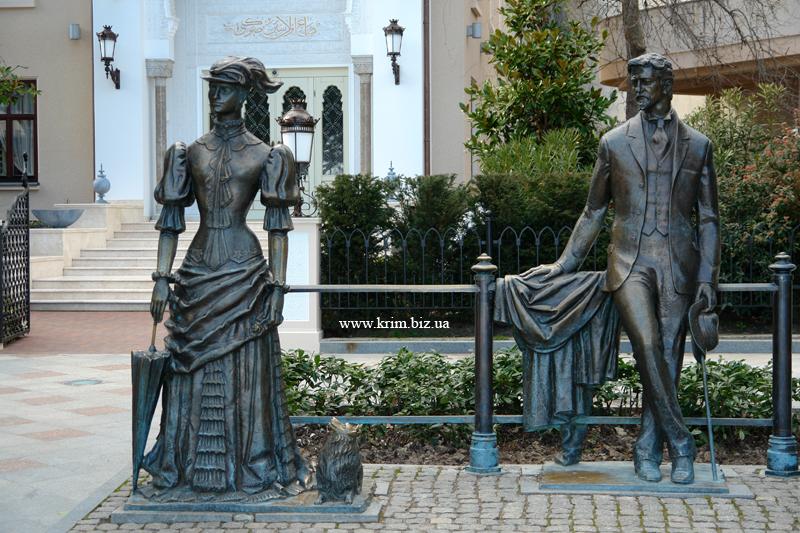 Антон Павлович Чехов и дама с собачкой в Ялте