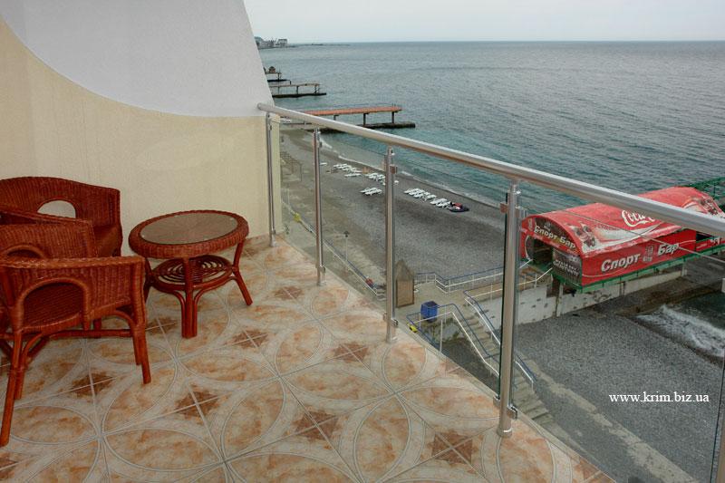 Ялта - гостиница Коралл, вид с балкона на пляж